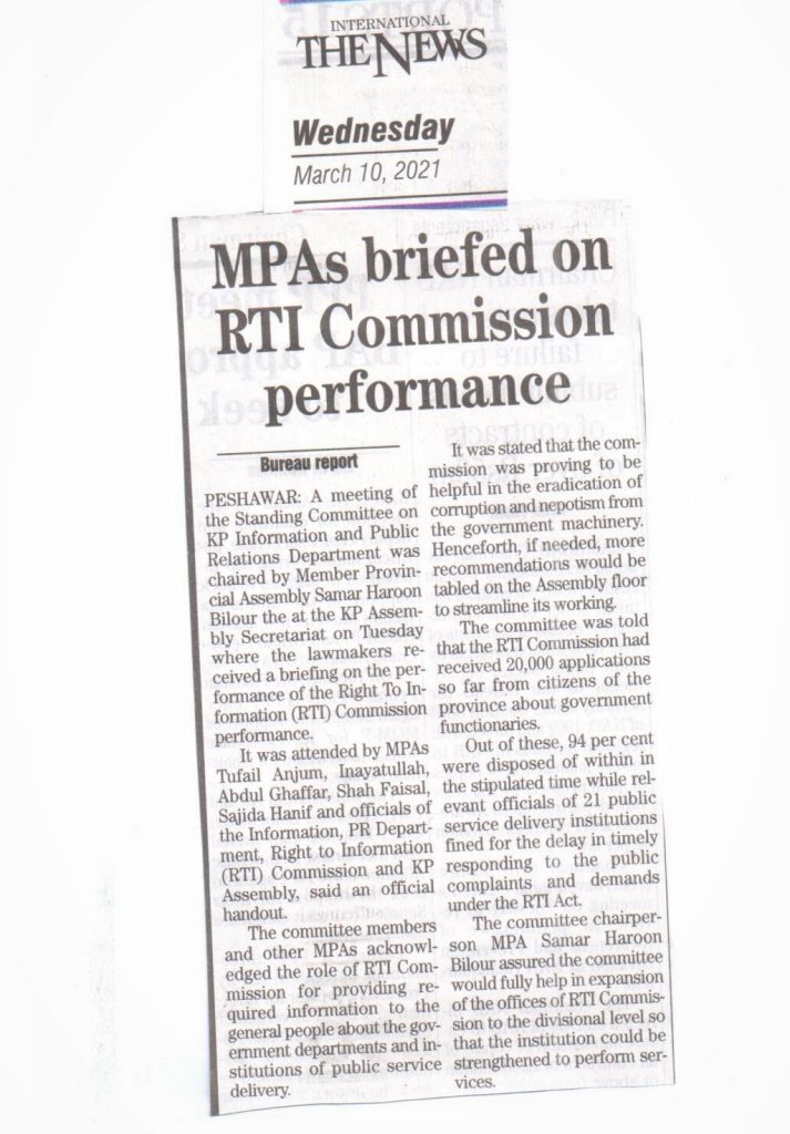 The News (10-03-2021)- MPAs briefed on RTI Commission performance